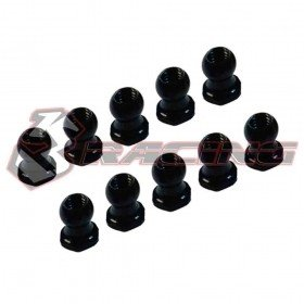 4.8MM Hex Ball Stud L=5 (10 pcs) - Black 7075 - 3Racing 3RAC-BS48H5/BK