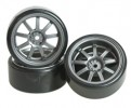 3RACING 1/10 On Road Car 9 Spoke Wheel & Tyre Set For Drift(5mm Offset) - WH-24/GY