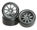 3RACING 1/10 On Road Car 9 Spoke Wheel & Tyre Set For Drift(7mm Offset) - WH-25/GY