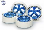 Tamiya #95099 - White Tire with Blue Plated A-Spoke Wheels 35th Anniversary